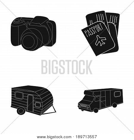 Vacation, photo, camera, passport .Family holiday set collection icons in black style vector symbol stock illustration .