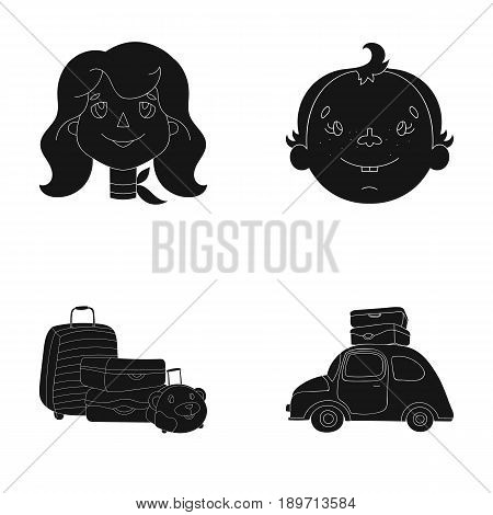 Camping, woman, boy, bag .Family holiday set collection icons in black style vector symbol stock illustration .