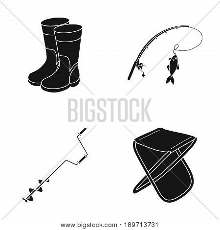 Fishing, fish, catch, fishing rod .Fishing set collection icons in black style vector symbol stock illustration .