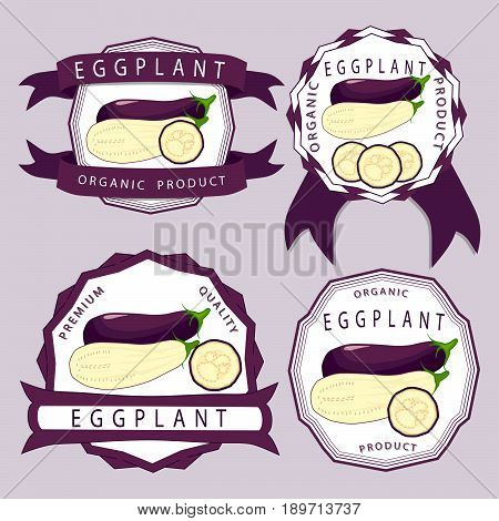 Vector illustration logo for whole ripe vegetable purple eggplant with green stem cut sliced close-up background.Eggplant drawing pattern consisting of tag label bow aubergine ripe.Eat fresh eggplants