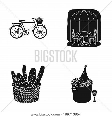 Bicycle, transport, vehicle, cafe .France country set collection icons in black style vector symbol stock illustration .