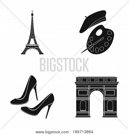 Eiffel tower, brush, hat .France country set collection icons in black style vector symbol stock illustration .