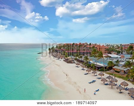 Aerial from Druif beach on Aruba island in the Caribbean at sunset