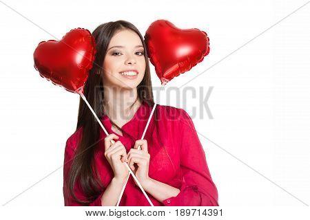 Beauty Holding Double Hearts.