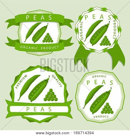 Abstract vector illustration logo for whole ripe vegetables round peas with green stem leaf cut sliced on background.Pea drawing consisting of tag label peel pip twine rope ripe food.Eat fresh Peas.