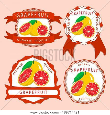 Abstract vector illustration logo for whole ripe fruit orange grapefruit citrus cut sliced.Grapefruit drawing consisting of tag label bow peel fruits,pip ripe sweet food.Eat fresh oranges grapefruits.
