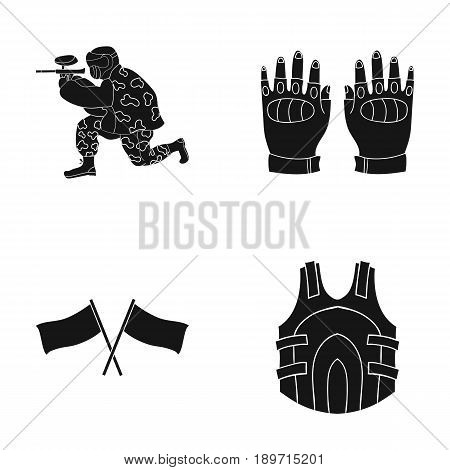 Sport, game, paintball, competition .Paintball set collection icons in black style vector symbol stock illustration .