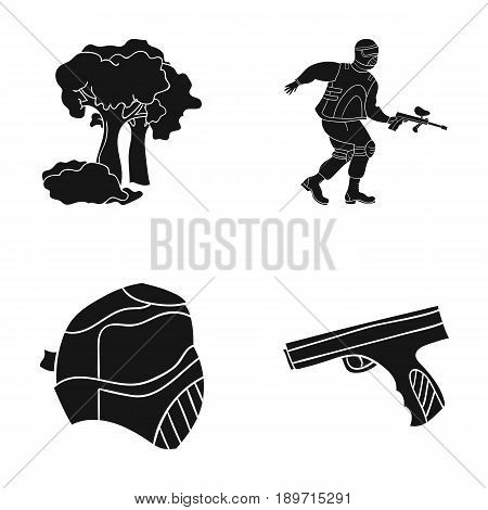 Mask, gun, paint, inventory .Paintball set collection icons in black style vector symbol stock illustration .