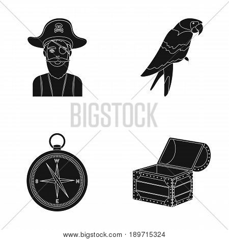 Pirate, bandit, hat, bandage .Pirates set collection icons in black style vector symbol stock illustration .