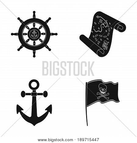 Pirate, bandit, rudder, flag .Pirates set collection icons in black style vector symbol stock illustration .