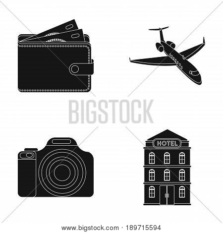 Vacation, travel, wallet, money .Rest and travel set collection icons in black style vector symbol stock illustration .