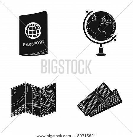 Vacation, travel, passport, globe .Rest and travel set collection icons in black style vector symbol stock illustration .