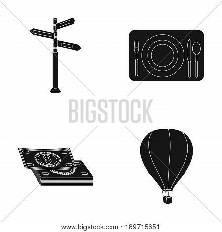 Vacation, travel, pointer, way, navigation .Rest and travel set collection icons in black style vector symbol stock illustration .