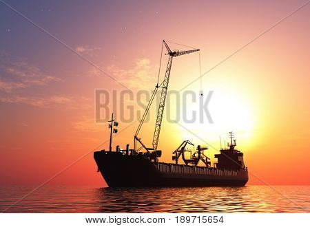 A ship with a crane  in the sea.3d render