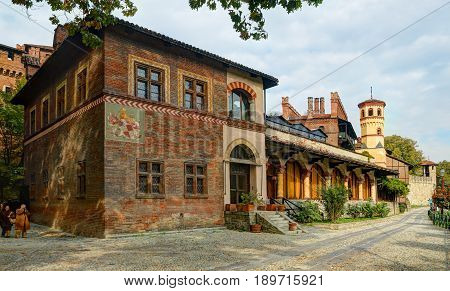 TURIN, ITALY, OCT, 20, 2007: Panoramic view on antique castle Borgo Medioevale city garden park, Turin city garden across river Po. Italy holidays vacations tours. Italy Italian architecture ornaments