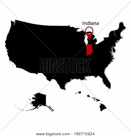 map of the U.S. state Indiana on a white background