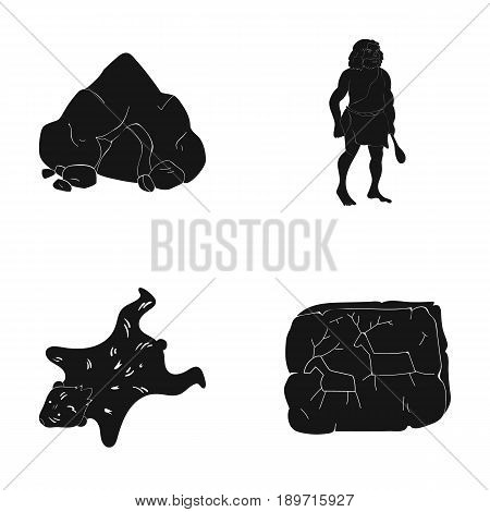Ancient, world, stone age .Stone age set collection icons in black style vector symbol stock illustration .