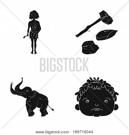 Weapon, hammer, elephant, mammoth .Stone age set collection icons in black style vector symbol stock illustration .