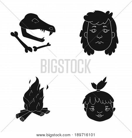 Woman, hair, face, bonfire .Stone age set collection icons in black style vector symbol stock illustration .