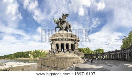 Panorama View Over The Plaza At The German Corner/ Deutsches Eck, People Visit The Monument Of Kaise