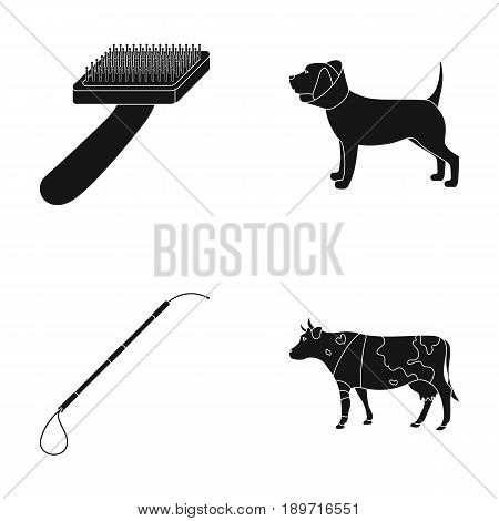 Dog, cow, cattle, pet .Vet Clinic set collection icons in black style vector symbol stock illustration .