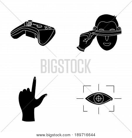 Virtual, reality, helmet, computer, technology, .Virtual reality set collection icons in black style vector symbol stock illustration .