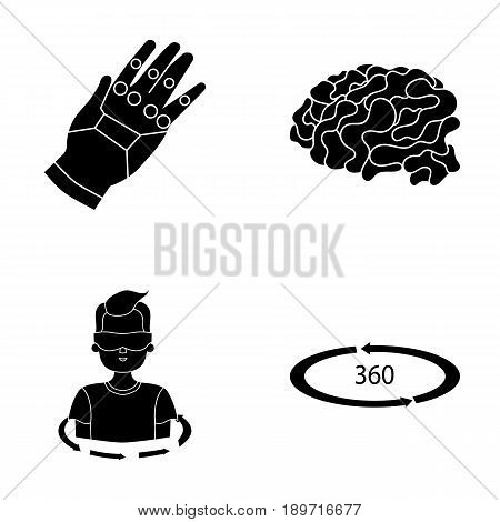 Technology, innovation, man, complemented .Virtual reality set collection icons in black style vector symbol stock illustration .