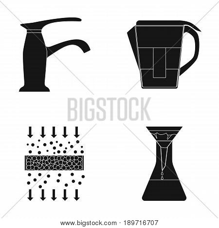 Filter, filtration, nature, eco, bio .Water filtration system set collection icons in black style vector symbol stock illustration .