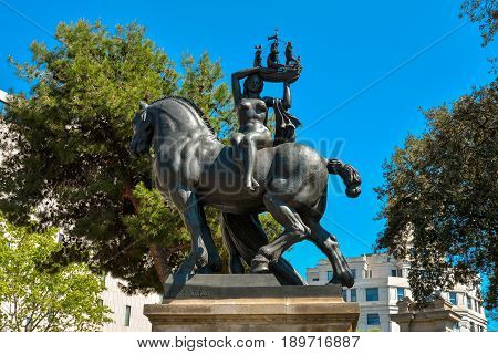 Statue Woman On Horse
