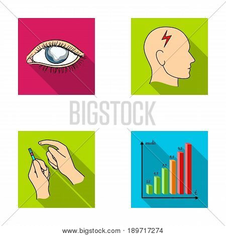 Poor vision, headache, glucose test, insulin dependence. Diabetic set collection icons in flat style vector symbol stock illustration .