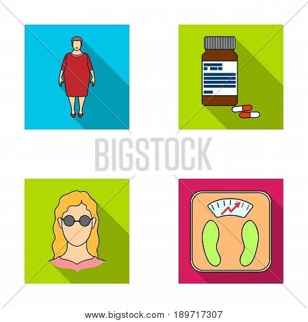 Full woman, a girl with glasses, a scales with exquisite result. Diabeth set collection icons in flat style vector symbol stock illustration .