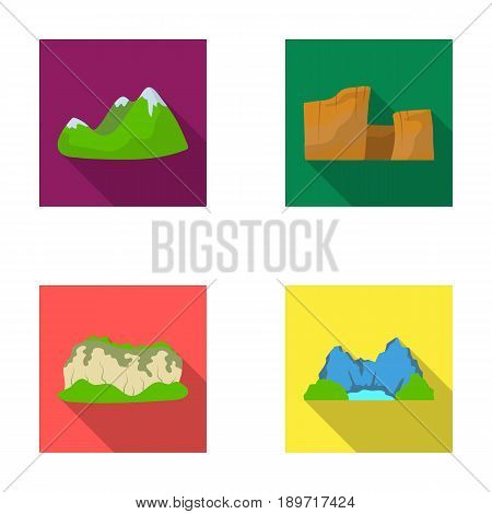 Green mountains with snow tops, a canyon, rocks with forests, a lagoon and rocks. Different mountains set collection icons in flat style vector symbol stock illustration .