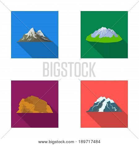 Mountains in the desert, a snowy peak, an island with a glacier, a snow-capped mountain. Different mountains set collection icons in flat style vector symbol stock illustration .