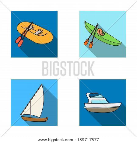 A rubber fishing boat, a kayak with oars, a fishing schooner, a motor yacht.Ships and water transport set collection icons in flat style vector symbol stock illustration .
