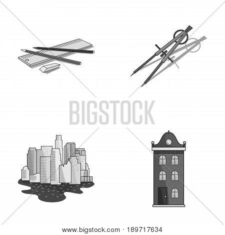 Drawing accessories, metropolis, house model. Architecture set collection icons in monochrome style vector symbol stock illustration .