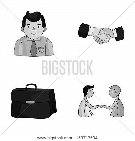 Businessman, handshake, portfolio, agreement.Business-conference and negotiations set collection icons in monochrjme style vector symbol stock illustration .
