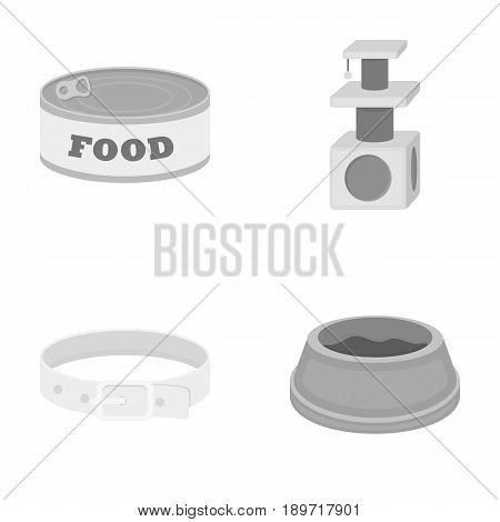 A can of food, a house for a cat, a bowl of food, a collar.Cat set collection icons in monochrome style vector symbol stock illustration .