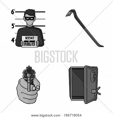 Photo of criminal, scrap, open safe, directional gun.Crime set collection icons in monochromet style vector symbol stock illustration .