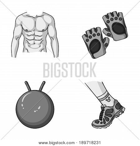 Men s torso, gymnastic gloves, jumping ball, sneakers. Fitnes set collection icons in monochromet style vector symbol stock illustration .