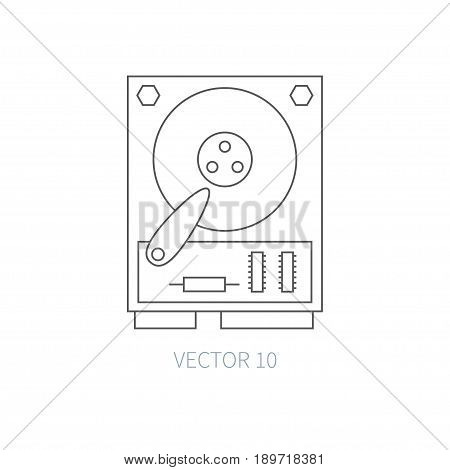 Flat line vector computer part icon - hard drive. Cartoon style. Illustration, element for your design. Simple. Monochrome. Pc collection. IT. Electronic computing systems. Server. Data. Chip Hdd