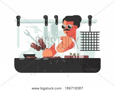 Man cooking barbecue on grill. Cook prepares meat. Vector illustration