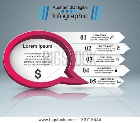 Speech bubl icon. Dialog box info. Abstract infographic. Marketing icon