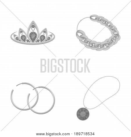 Tiara, gold chain, earrings, pendant with a stone. Jewelery and accessories set collection icons in monochrome style vector symbol stock illustration .