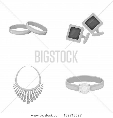 Wedding rings, cuff links, diamond necklace, women s ring with a stone. Jewelery and accessories set collection icons in monochrome style vector symbol stock illustration .