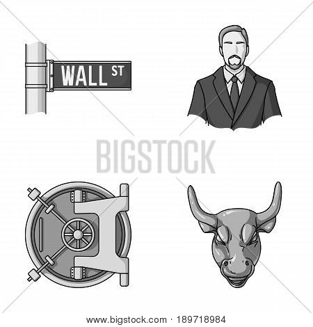 Wall Street, a businessman, a bank vault, a gold charging bull. Money and finance set collection icons in monochrome style vector symbol stock illustration .
