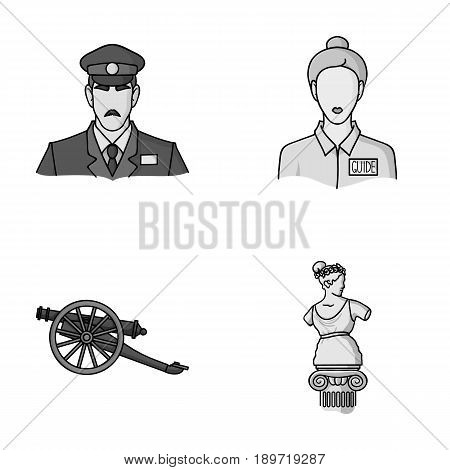 Guard, guide, statue, gun. Museum set collection icons in monochrome style vector symbol stock illustration .