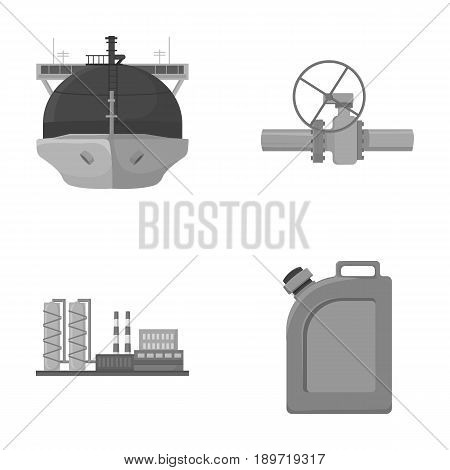 Tanker, pipe stop, oil refinery, canister with gasoline. Oil industry set collection icons in monochrome style vector symbol stock illustration .