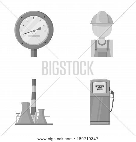 Manometer, worker oilman, fuel refueling, oil factory. Oil industry set collection icons in monochrome style vector symbol stock illustration .