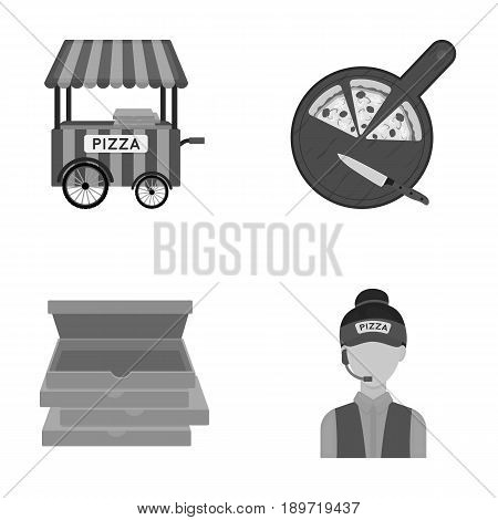 Mobile trailer, cutting board for pizza, boxes, salesman. Pizza and pizzeria set collection icons in cartoon style vector symbol stock illustration .
