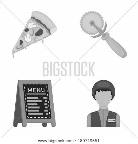 A pizza cutter, a slice, a menu in a pizzeria, a courier. Pizza and pizzeria set collection icons in cartoon style vector symbol stock illustration .